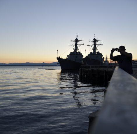 military-boats-at-sunset